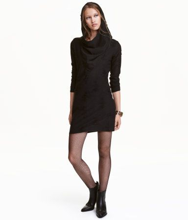 Black. Short, fine-knit dress with hood, waterfall neckline, and long sleeves. Unlined.