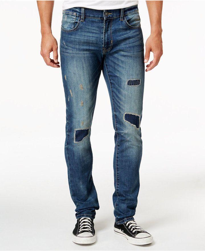 4a602de0cba85 Ring of Fire Men s Slim Fit Stretch Rip   Repair Jeans