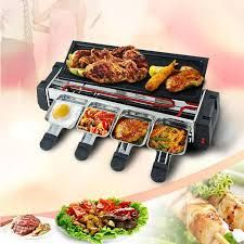 Electric BBQ Grill Pan Non-Stick Pan Double Side Stove - Black