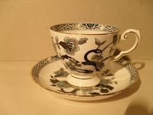 Tuscan Turquoise Butterfly Black Florals Asian Teacup and Saucer