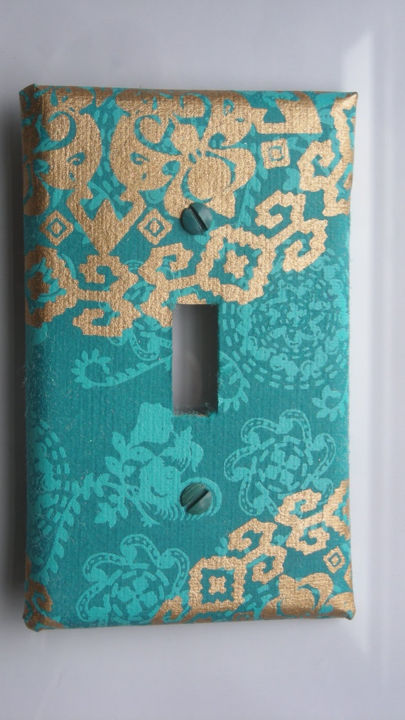 Gilded turquoise sari decorative light switch cover by for Unique light switch plates