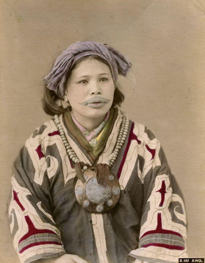 Ainu woman--Hand tinted albumen print from unknown studio, Japan.  Titled: B. 1151 Aino. Meiji Era, circa 1880′s