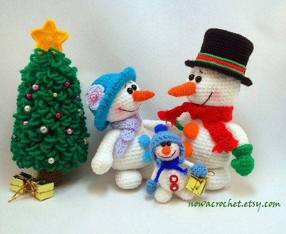 Snowman family - amigurumi PDF crochet pattern