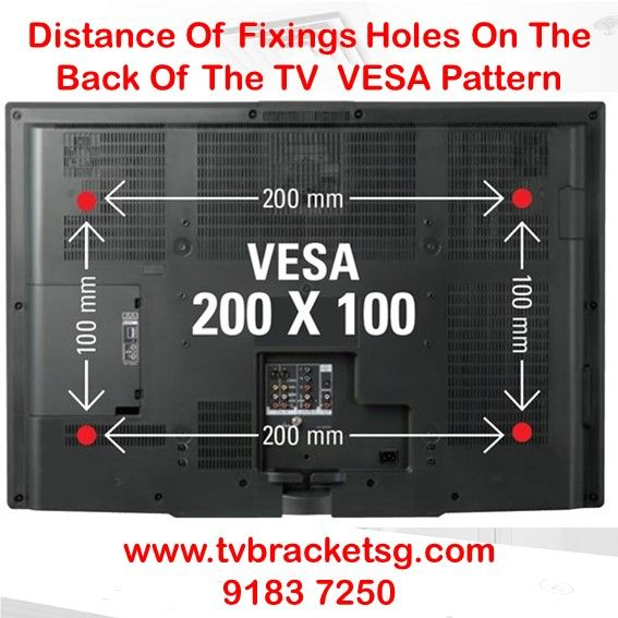 Distance Of Fixing Holes On The Back Of The Tv Vesa Pattern Wall Mounted Tv Tv Bracket Tv Installation