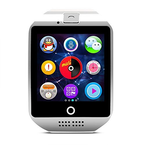 Amanstino Wireless Smartwatch with Camera Original Q18 Tf/sim Card Slot for Ios(partial Functions) & Android(full Functions) Devices/iphone 6/6 Plus/5c/5s/5 Samsung Galaxy/note(8g White) * Visit the image link more details.