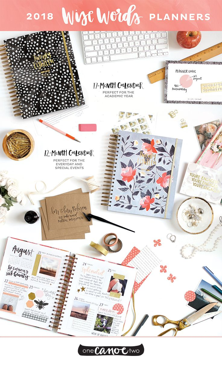 2018 Wise Words Planners from @1canoe2! These daily agendas will keep you organized all year long. Available in academic and standard year formats!