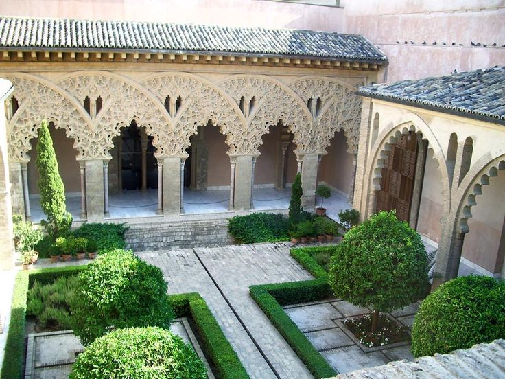 https://www.facebook.com/pages/Islamska-arhitektura-i-umjetnost/1403357959880645  Couryard of the Aljafería Palace (Spanish: Palacio de la Aljafería; Arabic: قصر الجعفرية‎, tr. Qasr al-Jaʿfariya) is a fortified medieval Islamic palace built during the second half of the 11th century in the Moorish taifa of Zaragoza of Al-Andalus, present day Zaragoza, Spain.