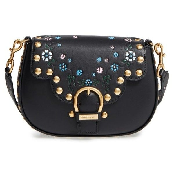 Women's Marc Jacobs Studded Navigator Leather Crossbody Bag (9.115 ARS) ❤ liked on Polyvore featuring bags, handbags, shoulder bags, black, marc jacobs handbags, leather cross body purse, genuine leather shoulder bag, leather crossbody purse and leather crossbody