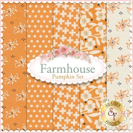 """Farmhouse 5 FQ Set - Pumpkin Set by Fig Tree Quilts for Moda Fabrics: Farmhouse is a collection by Fig Tree Quilts for Moda Fabrics. This set contains 5 fat quarters, each measuring approximately 18""""x21"""""""