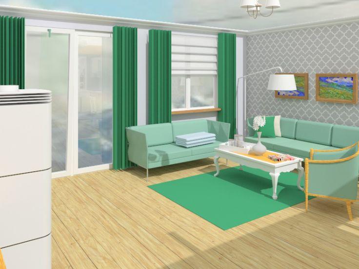 green livingroom, interior design