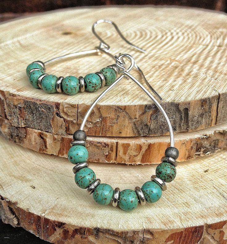 Blue Green Turquoise and Silver Hoop Earrings