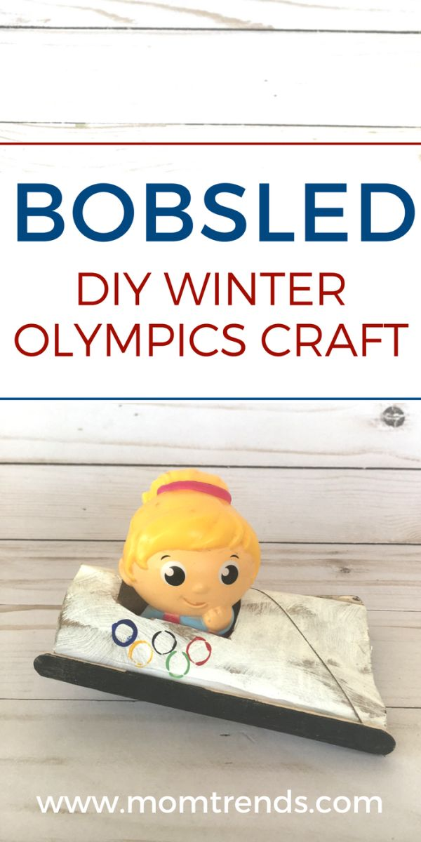 Winter Olympic craft for kids. Celebrate the Winter Olympics with this easy bobsled craft for kids. MomTrends.com #craft #kidscraft #winterolympics #olympics