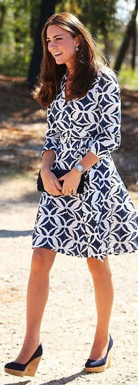 Kate Middleton wearing Stuart Weitzman Corkswoon Wedges in Denim Ballon Bleu De Cartier Stainless Steel Watch Diane Von Furstenberg Patrice dress