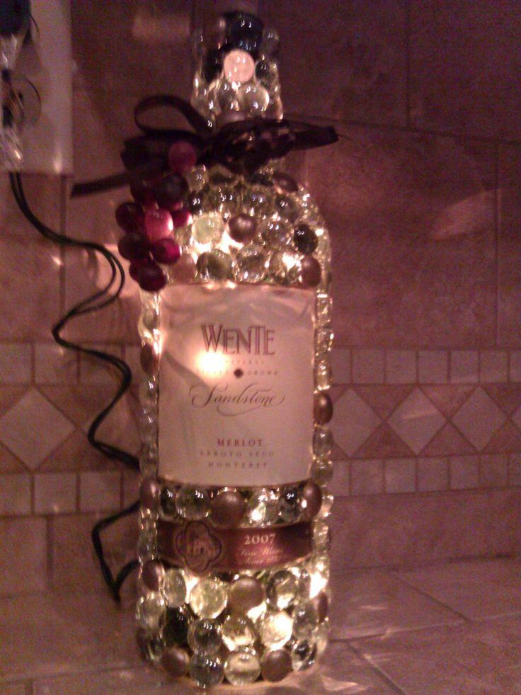 Bead decorated wine bottle lights!