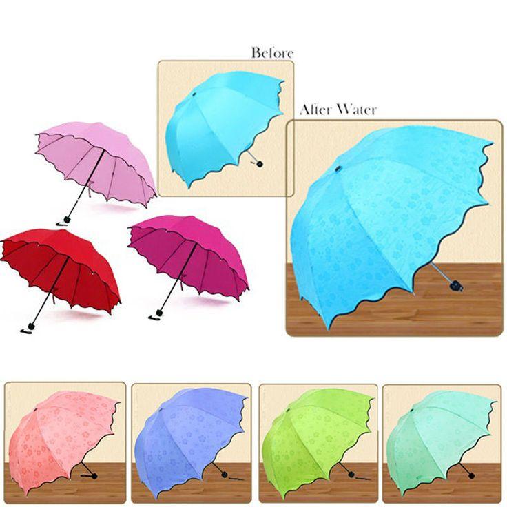 Lady Girl Princess Flouncing Dome Parasol Folding Magic Flower Sun/Rain Umbrella