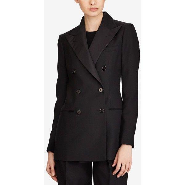 Polo Ralph Lauren Double-Breasted Blazer ($698) ❤ liked on Polyvore featuring outerwear, jackets, blazers, polo black, polo jackets, peak lapel blazer, tux jacket, double breasted tuxedo jacket and peak lapel tuxedo