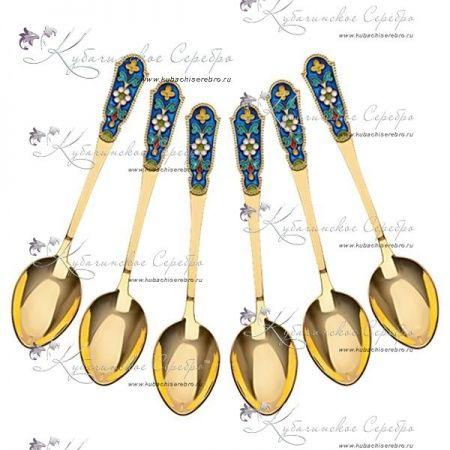 Набор ложек с позолотой и эмалью , арт №1664 - «Кубачинское серебро»