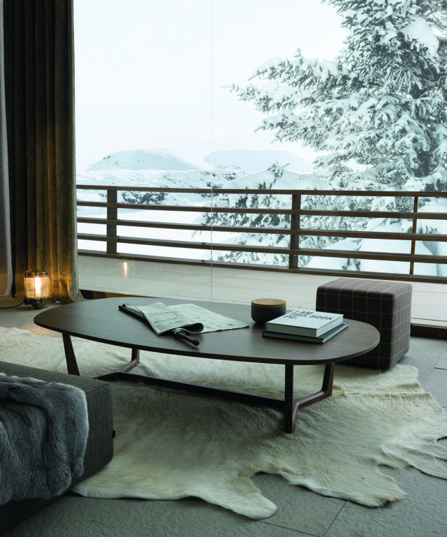 Poliform|Varenna_winter home_Tridente coffee table in spessart oak