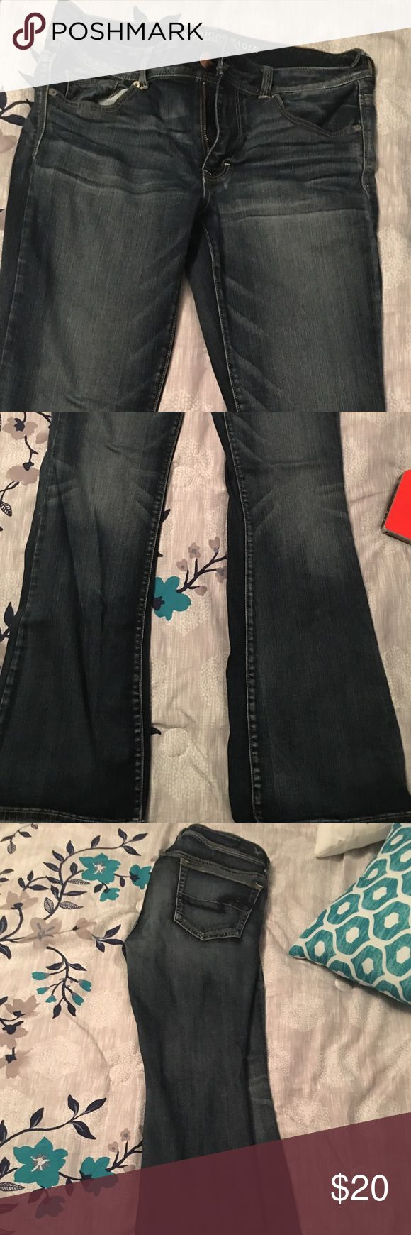 American Eagle super stretch jeans AE outfitters super stretch flare jeans- only worn twice. Perfect condition, super comfortable. American Eagle Outfitters Pants Boot Cut & Flare