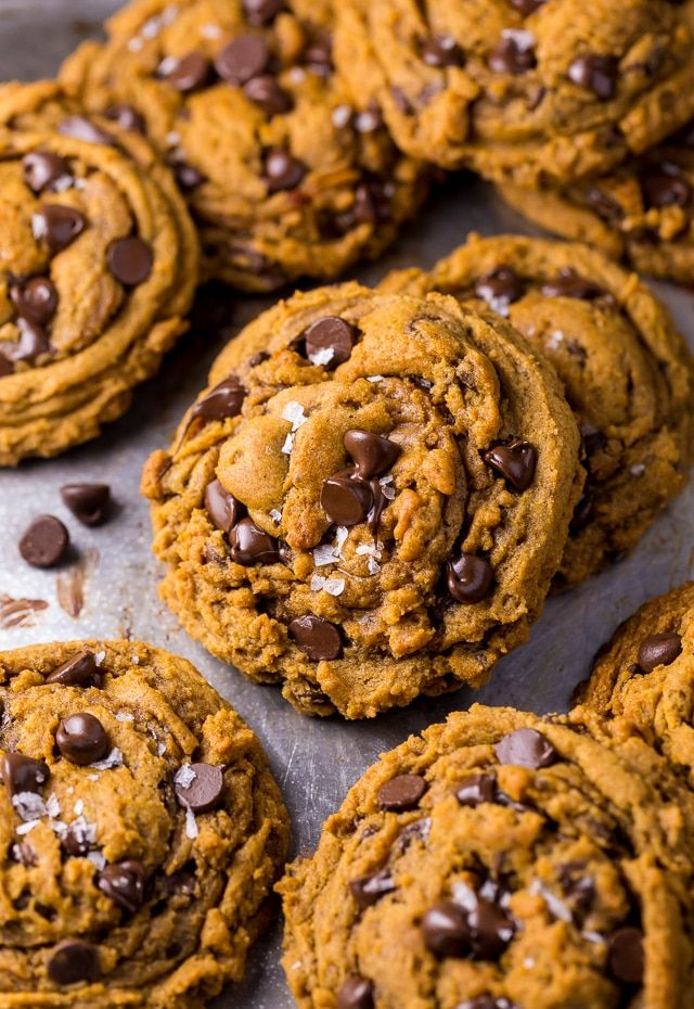 NON-CAKEY Pumpkin Chocolate Chip Cookies are thick, chewy, and loaded with flavor! Vegan pumpkin chocolate chip cookies are made with everyday ingredients!