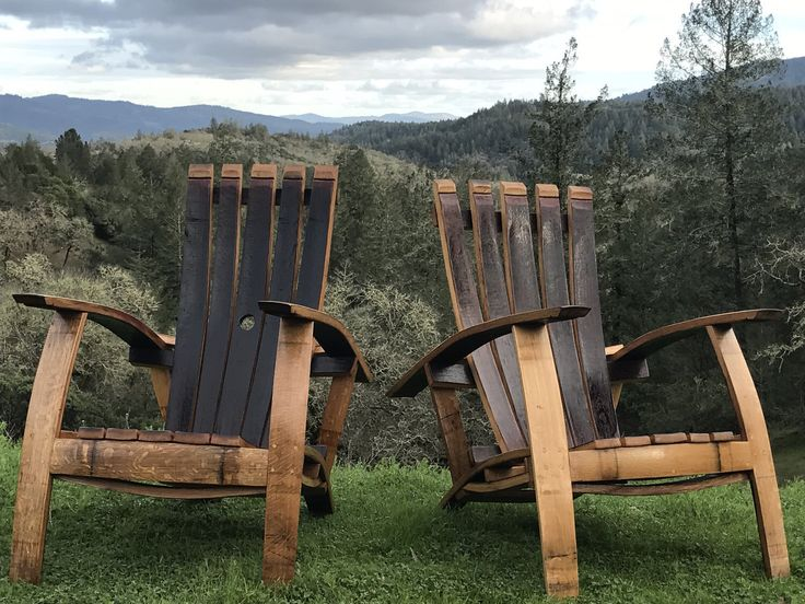 Wine Barrel Adirondack Set // Napa Valley Wine Barrel Adirondack Craftsman Chairs and Table Indoor Outdoor Furniture by BarrelworksbyTy on Etsy https://www.etsy.com/listing/482407224/wine-barrel-adirondack-set-napa-valley