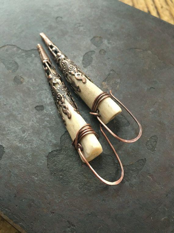 Filigraan Antler oorbellen echte herten gewei sieraden Dangle Oorbellen rustieke sieraden Daniellerosebean Drop Earrings Black Friday