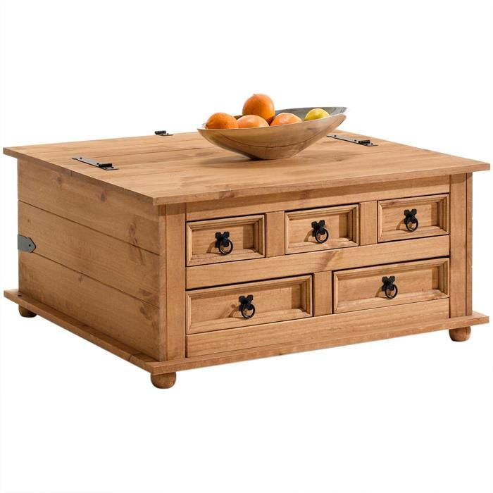 Table Basse En Pin Tequila Style Mexicain Finition Ciree Table Basse Tables Basses Coffres Table Basse En Pin