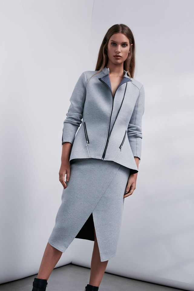 OnceWas: Kikko bonded textured ponte peplum jacket and Kikko reversible bonded ponte wrap skirt.