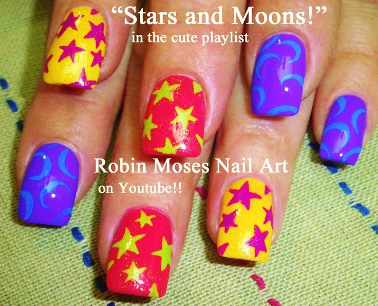 Stars and Moons Nail Art!