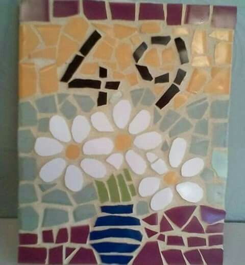 20x25 cm Mosaic House Number 49 Flowers
