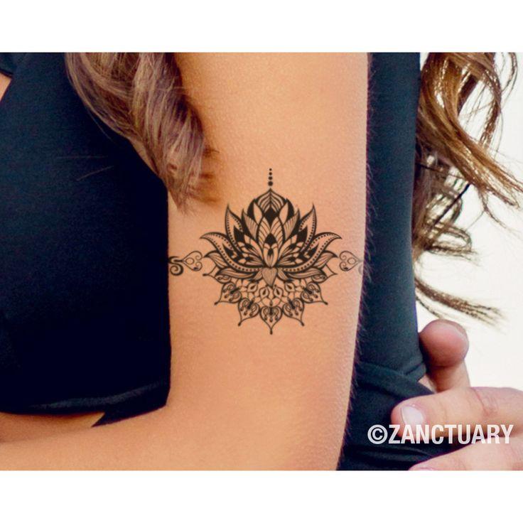 Tatuaje temporal de Lotus-Lotus falso tatuaje Henna por ZANCTUARY