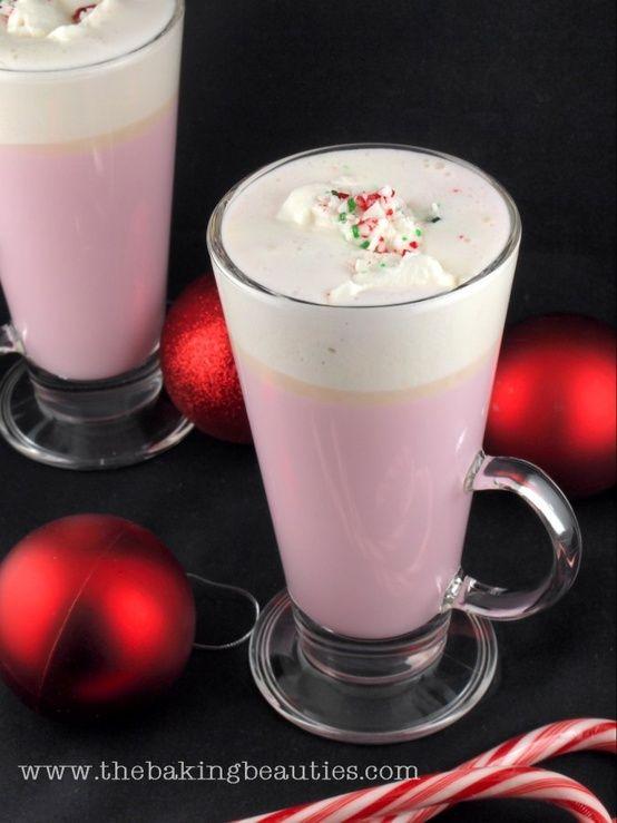 Candy Cane White Hot Chocolate - 15 Fun Christmas Drinks #Christmas