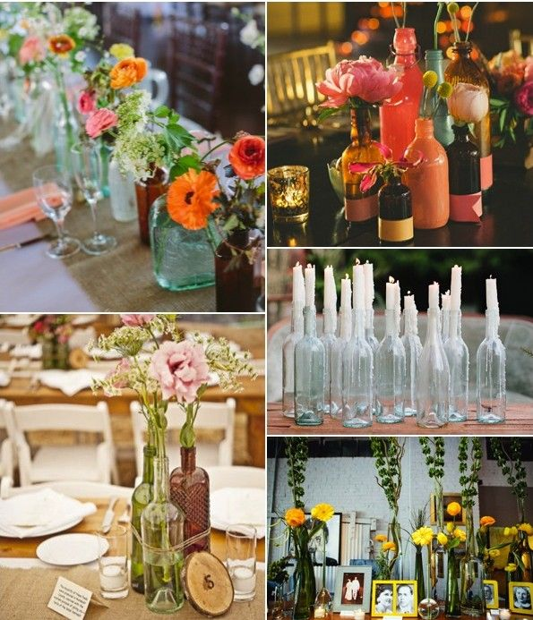 Eco chic 4 centros de mesa con botellas bottles in - Centros de mesa con botellas ...