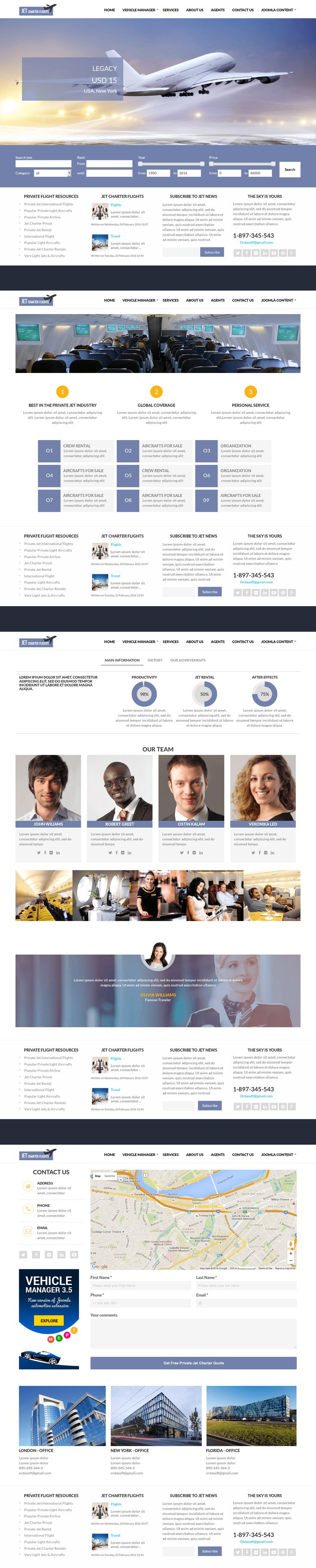 Jet Charter Flights is new fresh and responsive Joomla airline template with thoroughly thought design and robust functionality specially tailored for jet charter companies. Also this airline website template can be used for providing private jet International flights services, web jet reservation, private jet rentals, private aircrafts and airline websites.