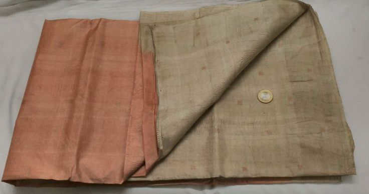 ANTIQUE VINTAGE PURE SILK FABRIC WOVEN WEAVING TWO COLOR TUSSAR SARI SAREE  #Unbranded