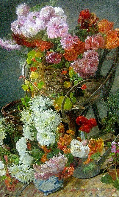 Gustave Jeanneret  Garden Still Life  19th century