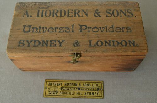 Early Wooden BOX Advertising Anthony Hordern Sons Sydney Small Brass Plaque