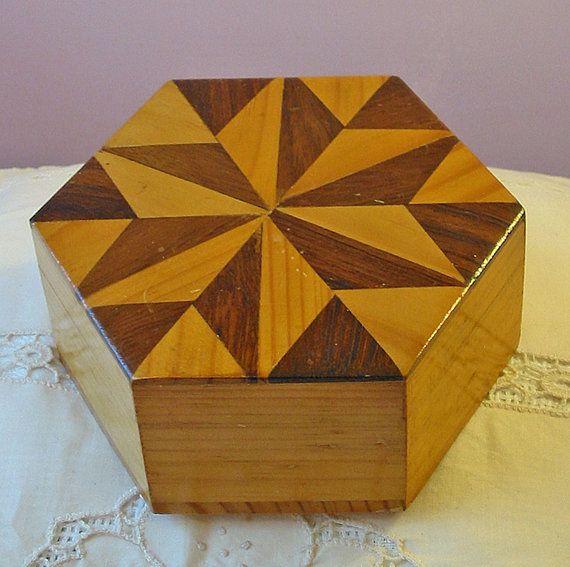 Beautiful Wood MARQUETRY TRINKET Box, 2 Tone Tan Brown, 3d Hexagon Star, Inlaid Wood, Great Dad or Guy Gift, USA Handmade via Etsy