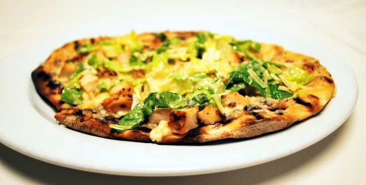 Appalachian Brewing Co. CHICKEN CAESAR FLATBREAD Grilled chicken and fresh Asiago, Mozzarella and Provolone cheeses on a crispy flatbread brushed with ABC's own creamy Caesar dressing. Topped with freshly cut Romaine lettuce lightly coated in dressing…10 #Flatbread #chickenceasar