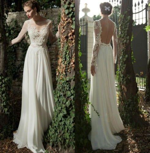 Neu Spitze + Chiffon Langarm Hochzeitskleid Brautkleid Abendkleid 32 34 36 38 ++