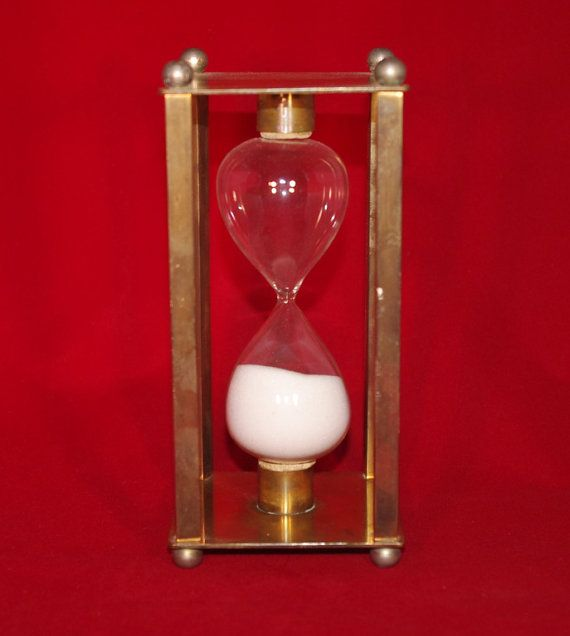 Vintage Brass Hourglass Sand Timer Square by StetsonCollectibles