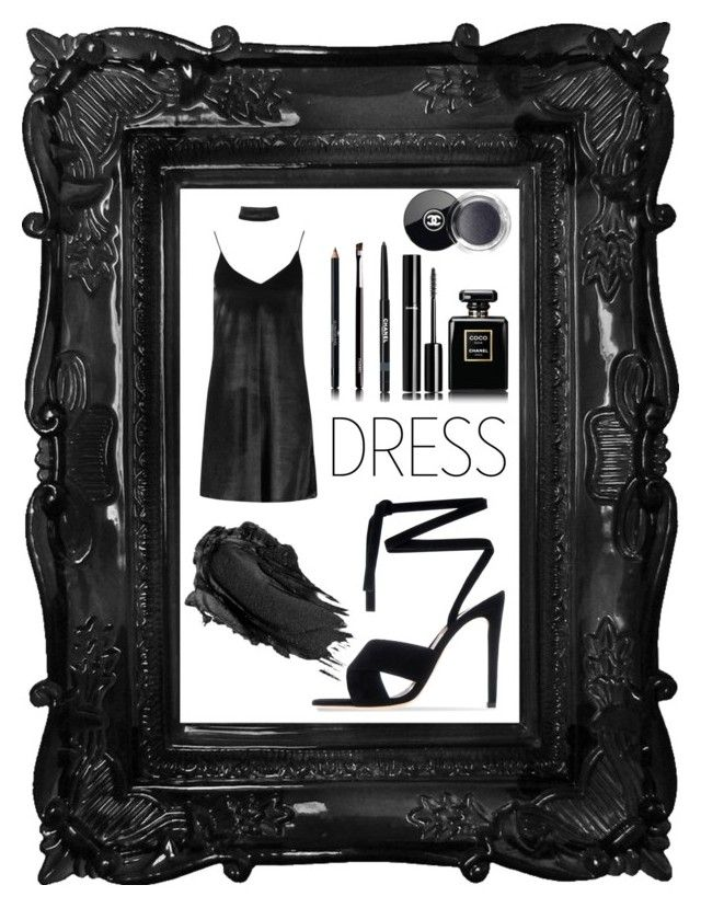 """BLACK...."" by kleefashion on Polyvore featuring Chanel, Urban Decay, Boohoo and Gianvito Rossi"