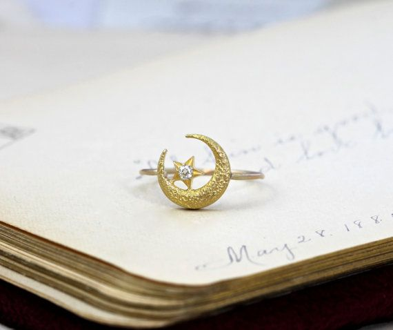Reserved for H ////// Antique Crescent Moon and Star Ring ...