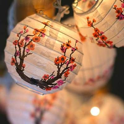 Cherry Blossom Sakura Mini Paper Lantern String Lights Japanese Chinese