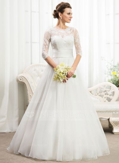 A-Line/Princess Scoop Neck Floor-Length Organza Satin Lace Wedding Dress With Ruffle Beading Sequins (002056467)