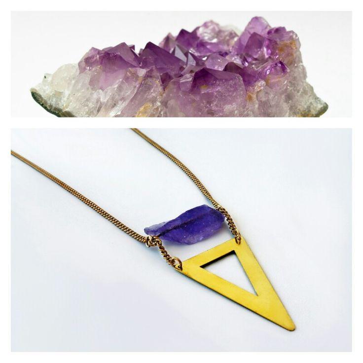 Amethyst necklace#triangle#raw#brass  https://www.facebook.com/jewelrylycidas