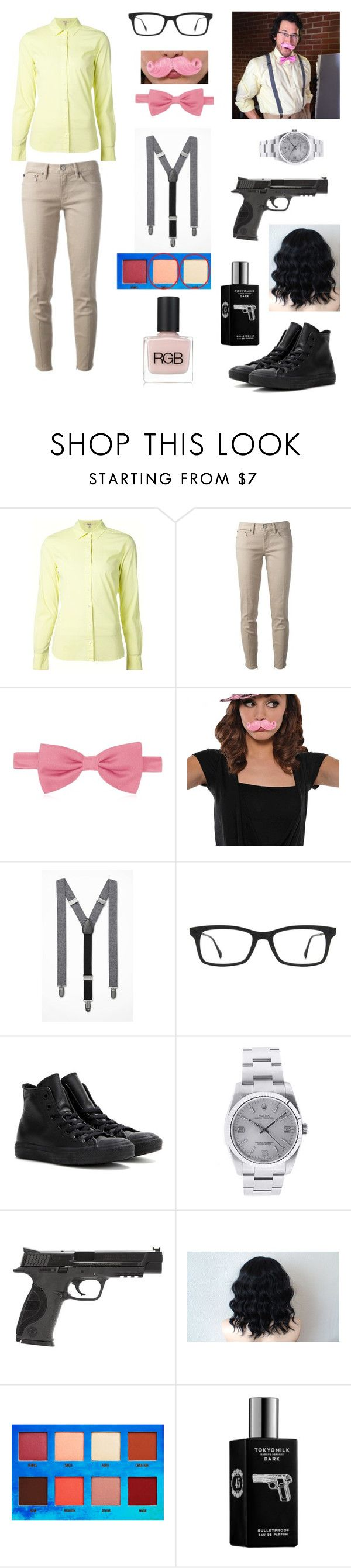 """Wilford Warfstache look ♡"" by sweetserialkiller-394 ❤ liked on Polyvore featuring J Brand, Tory Burch, Forzieri, Express, Ray-Ban, Converse, Rolex, Smith & Wesson, Lime Crime and TokyoMilk"