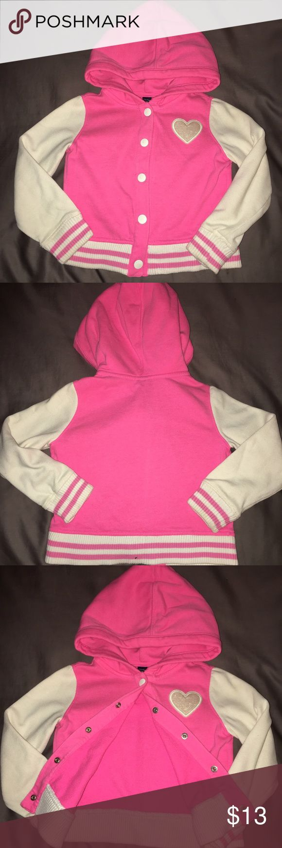 Baby GAP baseball jacket💕 Hooded sweatshirt baseball jacket with 💗. Waist and wrist bands are soft ribbed. Perfect alternative to early fall or spring jacket or layered under puffy vest. GAP Jackets & Coats