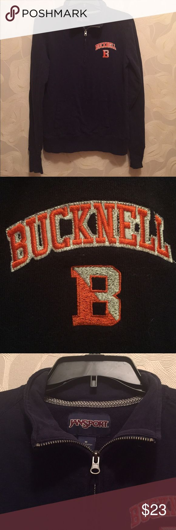 Bucknell University Half Zip Medium Bucknell University navy half zip with bucknell and B logo on front. Size medium. Pockets in front and thumb holes on sleeves. Purchased august 2016 from school book store. Very good used condition! Always cold washed and air dried. Bucknell students often wear these to class. Smoke free home Jansport Tops