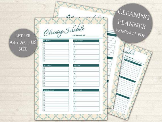 EDITABLE Weekly Cleaning Schedule, Printable Cleaning Planner, INSTANT Download, Cleaning Planner, Household Planner, Homekeeping #104
